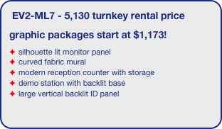EV2-ML7 - 5,130 turnkey rental price graphic packages start at $1,173! silhouette lit monitor panel curved fabric mural modern reception counter with storage demo station with backlit base large vertical backlit ID panel