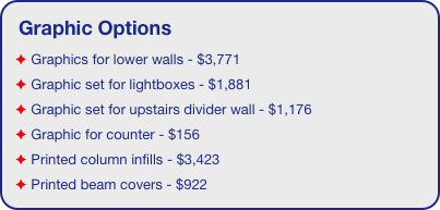 Graphic Options  Graphics for lower walls - $3,771  Graphic set for lightboxes - $1,881  Graphic set for upstairs divider wall - $1,176  Graphic for counter - $156  Printed column infills - $3,423  Printed beam covers - $922