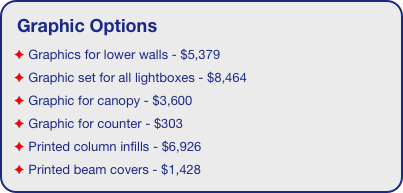 Graphic Options  Graphics for lower walls - $5,379  Graphic set for all lightboxes - $8,464  Graphic for canopy - $3,600  Graphic for counter - $303  Printed column infills - $6,926  Printed beam covers - $1,428