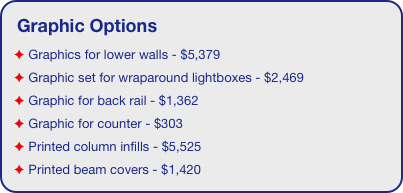 Graphic Options  Graphics for lower walls - $5,379  Graphic set for wraparound lightboxes - $2,469  Graphic for back rail - $1,362  Graphic for counter - $303  Printed column infills - $5,525  Printed beam covers - $1,420