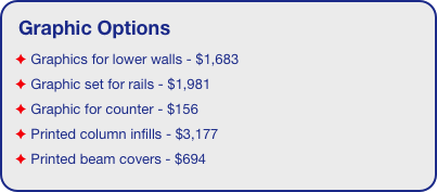 Graphic Options  Graphics for lower walls - $1,683  Graphic set for rails - $1,981  Graphic for counter - $156  Printed column infills - $3,177  Printed beam covers - $694