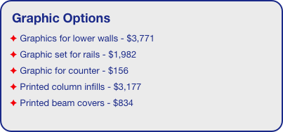 Graphic Options  Graphics for lower walls - $3,771  Graphic set for rails - $1,982  Graphic for counter - $156  Printed column infills - $3,177  Printed beam covers - $834