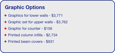 Graphic Options  Graphics for lower walls - $3,771  Graphic set for upper walls - $3,762  Graphic for counter - $156  Printed column infills - $2,734  Printed beam covers - $931