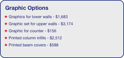 Graphic Options  Graphics for lower walls - $1,683  Graphic set for upper walls - $3,174  Graphic for counter - $156  Printed column infills - $2,512  Printed beam covers - $588