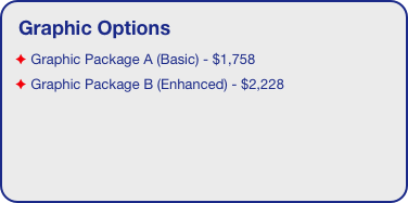 Graphic Options  Graphic Package A (Basic) - $1,758  Graphic Package B (Enhanced) - $2,228