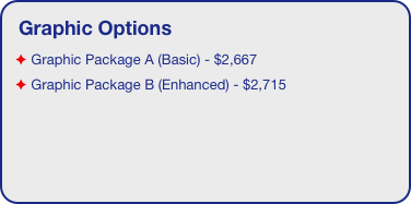 Graphic Options  Graphic Package A (Basic) - $2,667  Graphic Package B (Enhanced) - $2,715
