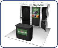 FLEXIBILITY - Stay flexible from show to show. Our inventory is ready to serve your needs from a simple 10 x 10 to multiple large island exhibits whenever and wherever you might be showing.